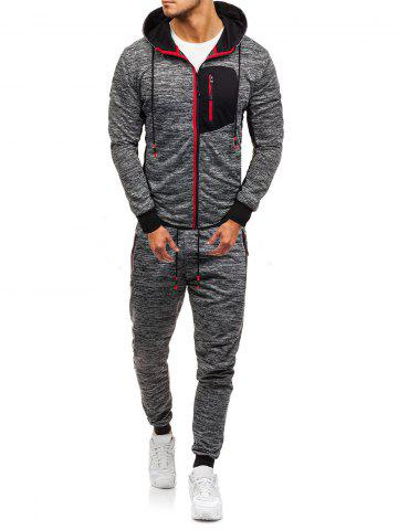 Front Zip Pocket Hoodie and Jogger Pants Twinset