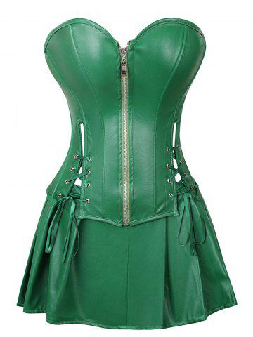 857325bfe14 Strapless Plus Size Lace Up Corset with Mini Skirt