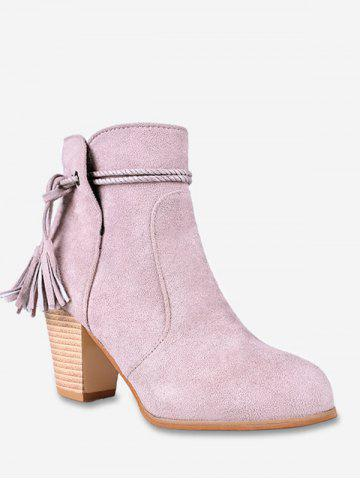 Fringe Detail Suede Chunky Heel Boots