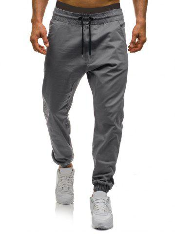 Solid Color Elastic Waist Drawstring Jogger Pants