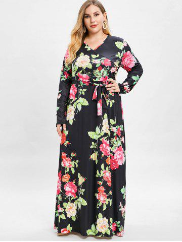 Long Sleeve Floral Maxi Dress - Free Shipping b0b8598c7a05
