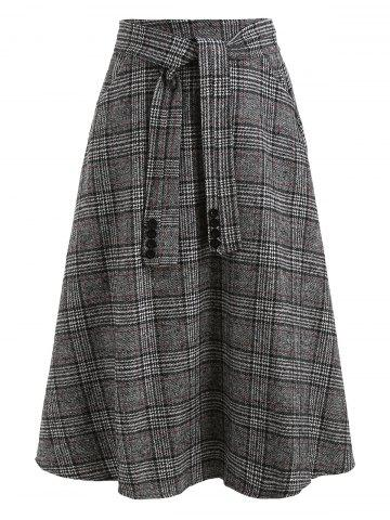Knot Front Plaid Wool Blend Skirt