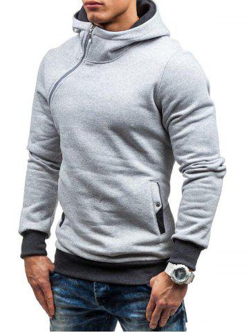 Side Zipper Embellished Pullover Hoodie