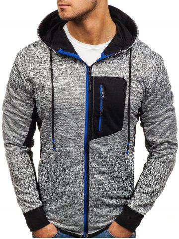 Contrast Color Patch Pocket Zip Fly Hoodie