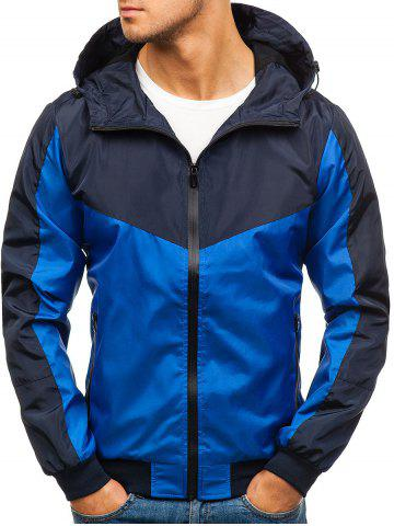 Color Block Zip Fly Outdoor Hooded Jacket