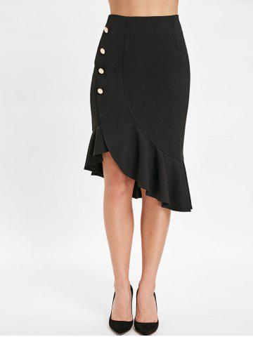 Buttons Embellished Asymmetrical Fishtail Skirt