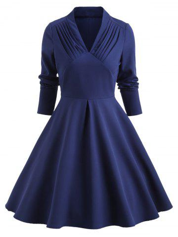 Pleated Front Long Sleeve Swing Dress