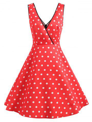 Sleeveless Polka Dot Faux Wrap Dress