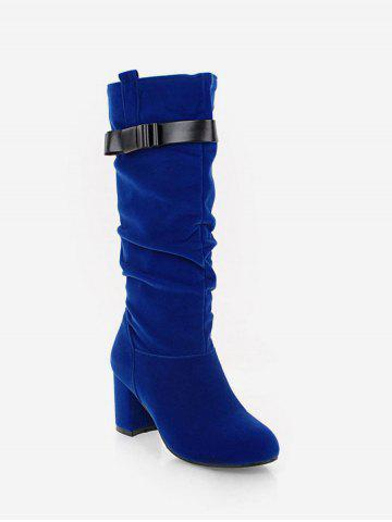 Plus Size Ruched Heeled Knee High Boots