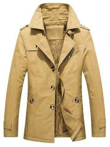 Winter Fluffy Lined Button Up Jacket - KHAKI - M