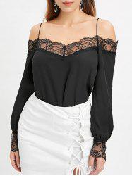 Lace Trim Cold Shoulder Full Sleeve Blouse -
