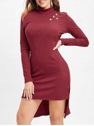 Full Sleeve High Low Knit Dress -