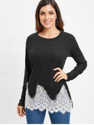 Lace Applique Long Sleeve Tunic Tee -