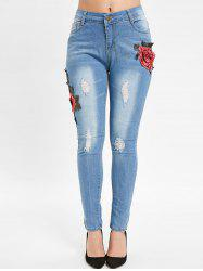 Floral Embroidery Slim Distressed Jeans -