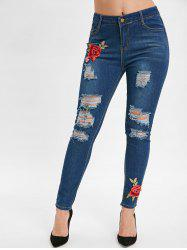 Floral Embroidery Bodycon Ripped jeans -