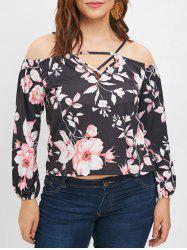 Plunging Neck Plus Size Floral Print Blouse -