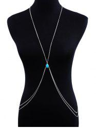 Faux Turquoise Cross Double Layered Body Chain -