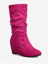 Plus Size Hidden Wedge Ruched Mid Calf Boots -