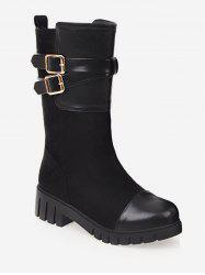 Plus Size Wrap Buckle Mid Calf Boots -