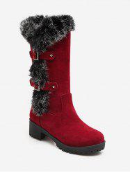 Plus Size Buckle Detail Faux Fur Knee High Boots -