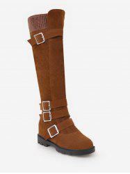 Plus Size Buckle Strap Suede Knee High Boots -