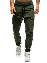 Solid Color Elastic Waist Drawstring Jogger Pants -