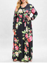 Bohemian Floral Print Maxi Plus Size Dress -