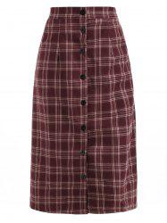 Button Front Midi Plaid Skirt -