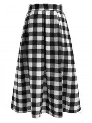 Plaid Print A-line Midi Skirt -