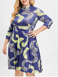 Plus Size Printed A Line Dress -