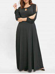 Long Sleeve Plus Size Keyhole Neck Maxi Dress -