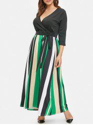 Plus Size Striped Panel Ankle Length Dress -