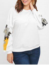 Plus Size Floral Embroidery Sweatshirt -