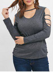 Long Sleeve Cut Out Plus Size T-shirt -