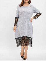 Plus Size Lace Trim Midi Dress -