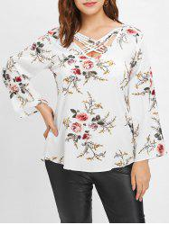Plus Size Floral Blouse with Criss Cross -