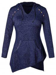 Plus Size Irregular Hem Hooded T-shirt -