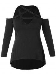 Plus Size Long Sleeve Criss Cross Open Shoulder T-shirt -