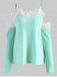 Lace Insert Cold Shoulder Sweater -