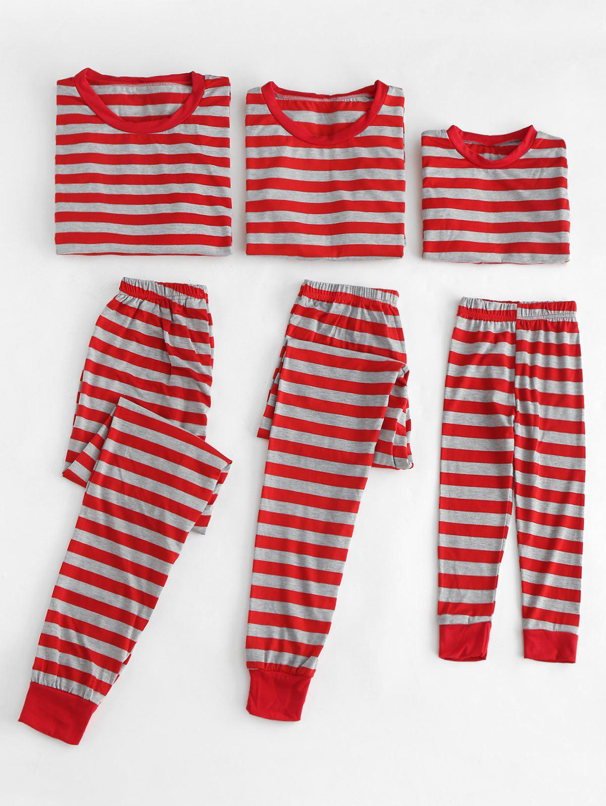 Unique Christmas Striped Print Family Pajamas Set