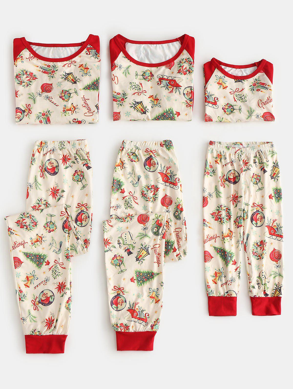 Fancy Christmas Theme Print Matching Family Pajamas