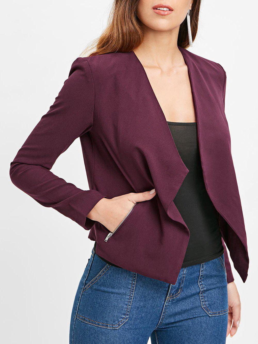 Fashion Double Pocket Drape Blazer