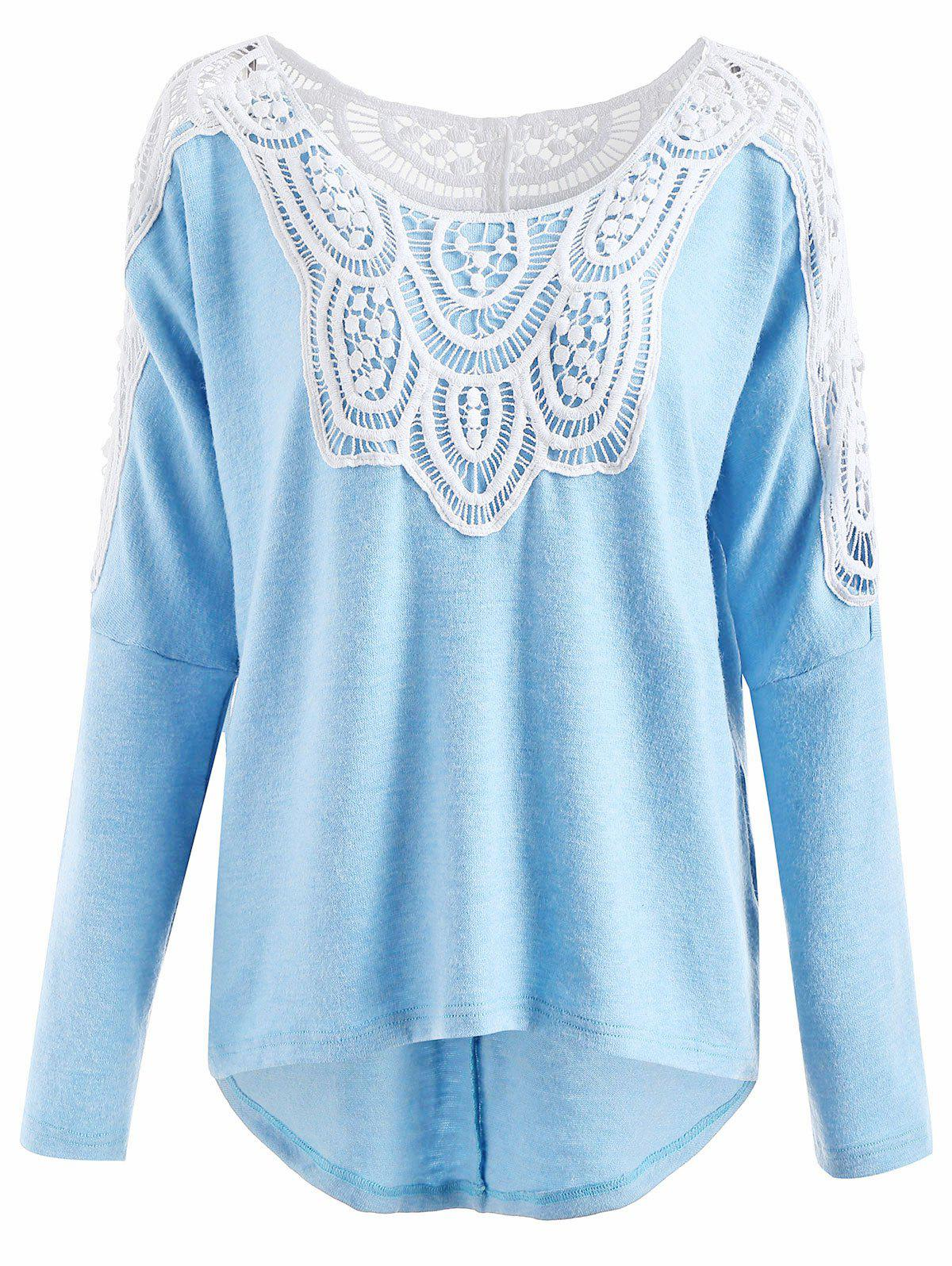 Shops Drop Shoulder Lace Insert Sweater