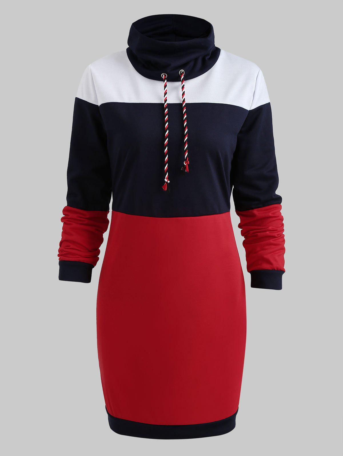 Outfits Long Sleeve Casual Contrast Dress
