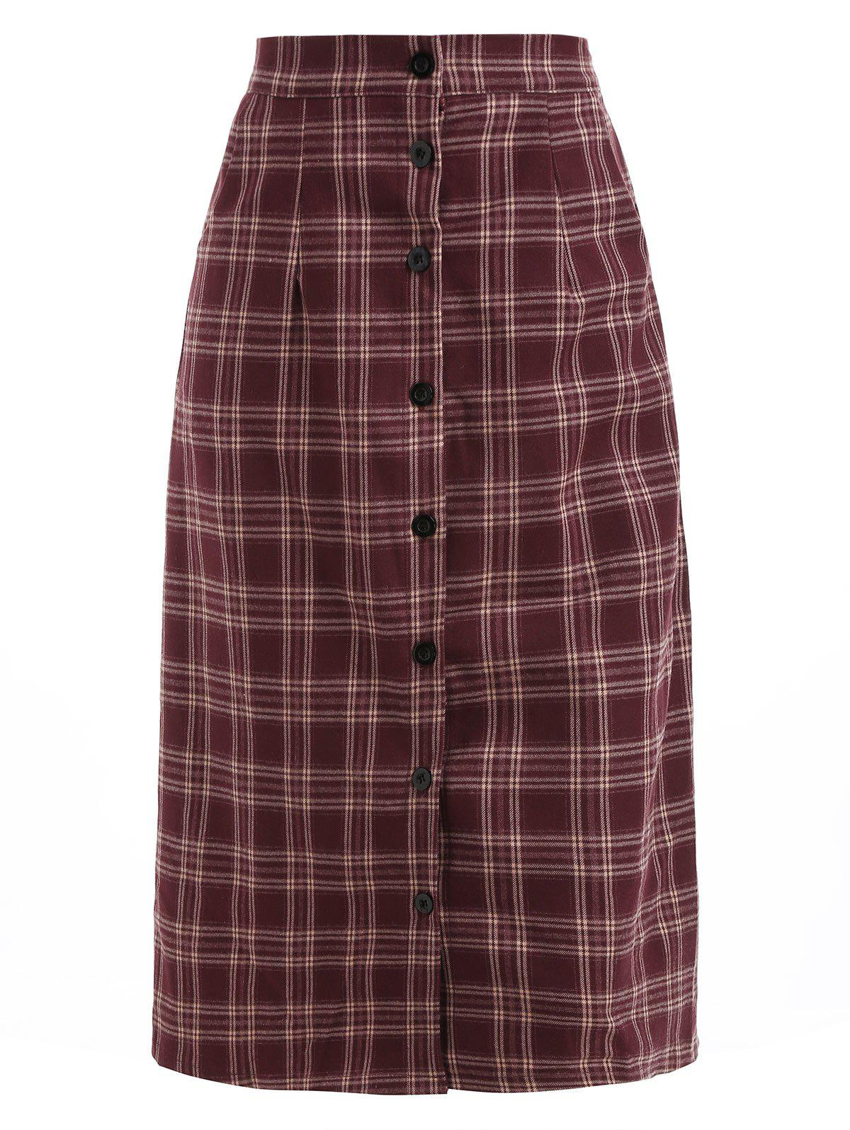 Cheap Button Front Midi Plaid Skirt