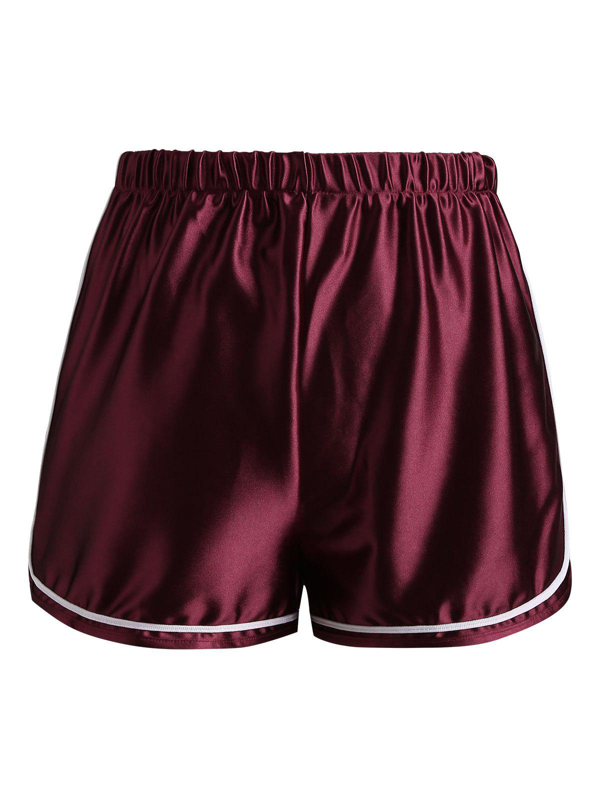 Sale Casual Contrast Satin Shorts
