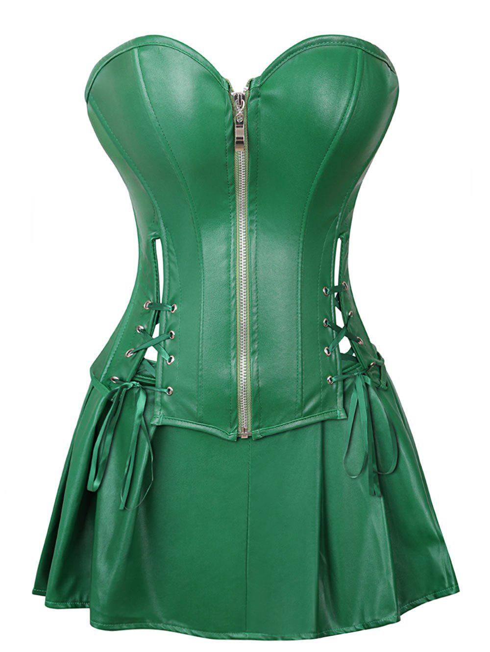 Chic Strapless Plus Size Lace Up Corset with Mini Skirt