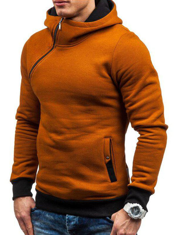 Cheap Side Zipper Embellished Pullover Hoodie