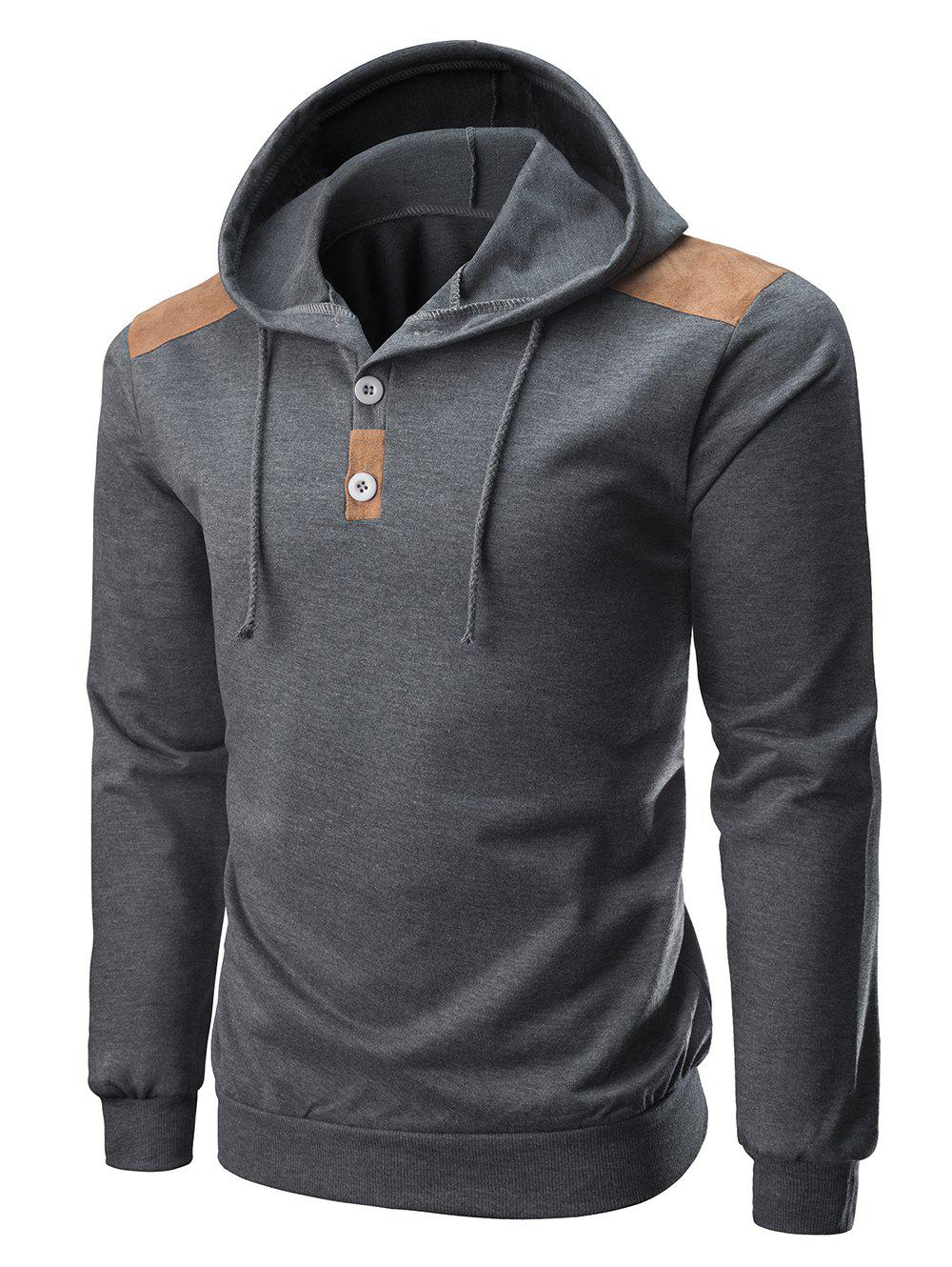 Shop Suede Color Spliced Knitted Hoodie