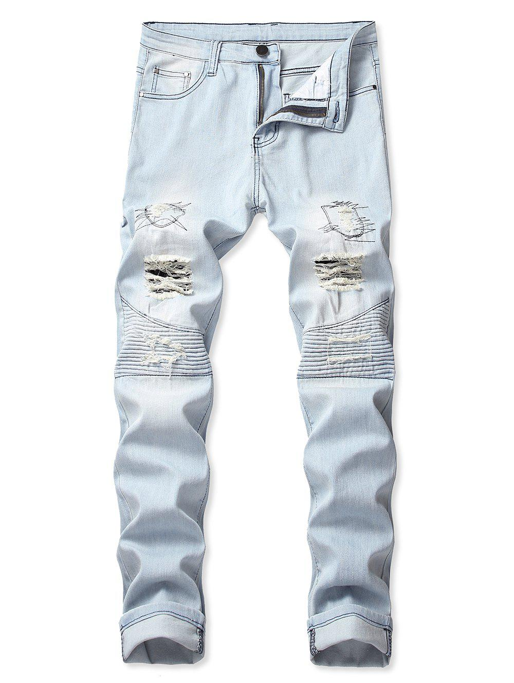 Outfits Ripped Light Wash Biker Jeans